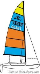 Hobie Cat 14 plan de voilure Image issue de la documentation commerciale © Hobie Cat